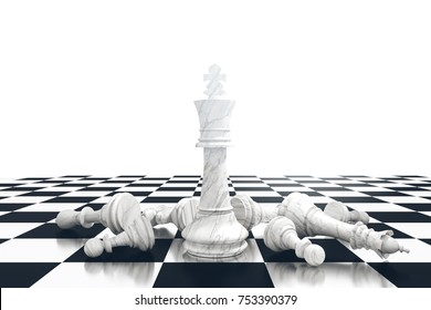 3D Rendering : illustration of marble chess pieces. marble king chess at center with fall other chess piece in the back. chess board with light background. leader success business concept.