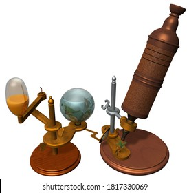 3D Rendering Illustration of a  Microscope designed and use by Robert Hooke in the middle of XVII century; with wooden bases and parts, mobile metal components, removable lenses, crystals & oil lamp.