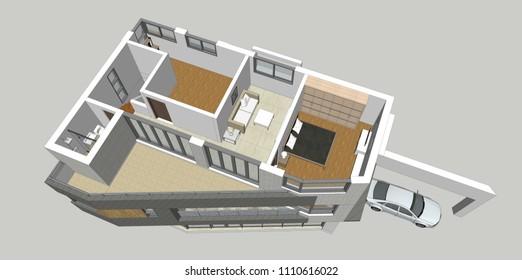 3D rendering illustration of modern architecture house interior. Birds eye view.