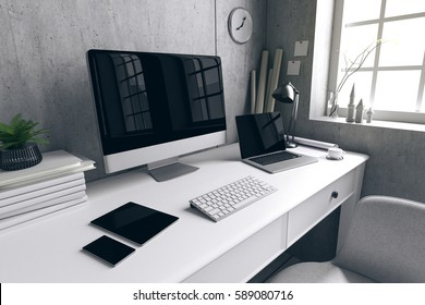 3D Rendering : illustration of modern interior Creative designer office desktop with PC computer.pc laptops mock up working place of graphic design.light from outside. loft cement wall background