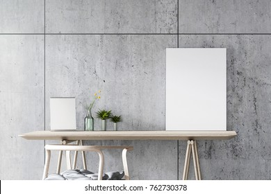 3D Rendering : illustration of modern interior Creative designer office desk with white poster frame put on wooden table. light from outside. loft cement wall background. clipping path