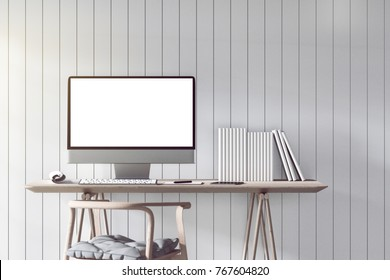 3D Rendering : illustration of modern interior Creative designer office desktop with PC computer. mock up working place. light from outside. white tile wall background. clipping path included
