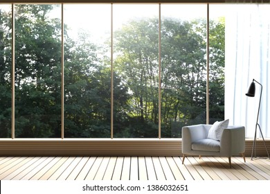 3D Rendering : illustration of Modern living room with nature view. decorate room with wooden cozy style interior. large window looking to nature and forest with sunlight. white curtain.