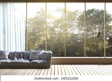 3D Rendering : illustration of Modern living room with nature view. soft sofa decorate room with wooden cozy style interior. large window looking to nature and forest with sunlight. white curtain.
