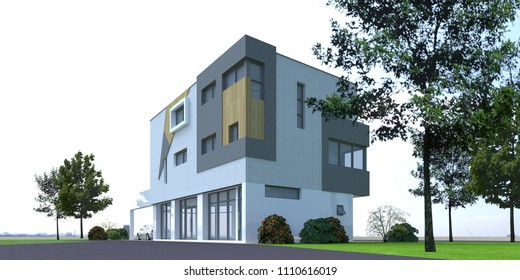 [3D rendering] Illustration of modern luxury residential house. Made with Sketchup and rendered.