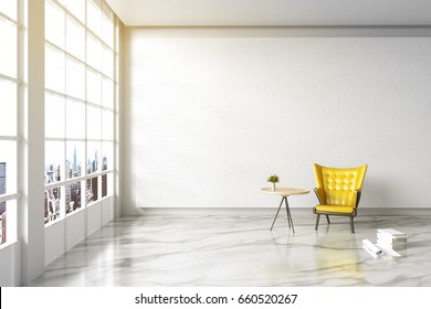 3d rendering : illustration of Modern vintage interior living room. yellow leather ancient sofa against white brick wall with white marble texture floor. city view and light shining from outside