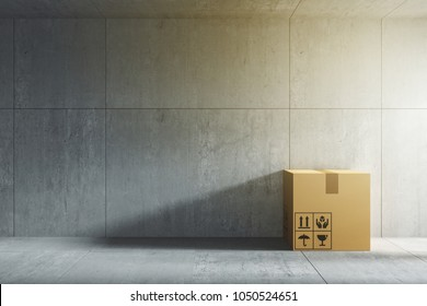 3D rendering : illustration of moving boxes at a new office or new home. Interior moving house with stack of  cardboard boxes. loft modern interior wall and floor. relocation working place concept.