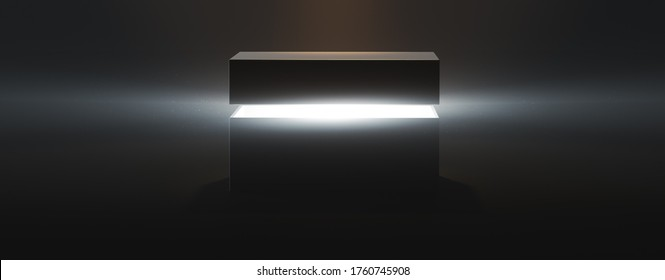 ( 3D Rendering, illustration ) mysterious pandora box opening with rays of light, high contrast image