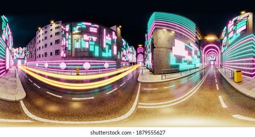 3D rendering, 3D illustration: Night neon cyberpunk city: seamless 360 panorama. Night street of a futuristic city with bright neon lights. Night street of abstract neon metropolis