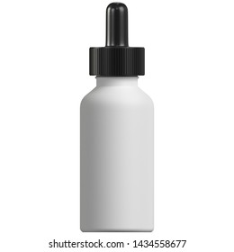 3D rendering illustration of an opaque dropper bottle with a blank label and a black top
