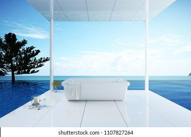 3D Rendering : illustration of outdoor bathtub for relaxing. bathtub on shiny ceramic floor. with swimming pool and seaview. seaview pool villa resort or condominium. luxury concept