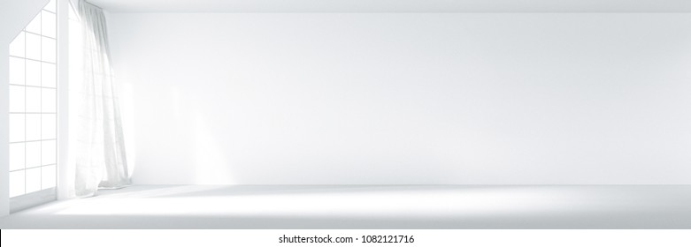 3D rendering : illustration of panorama empty white room for decorating your new home concept. re-new your home concept. peace place for living. move into new home. white curtain with wind be blowing