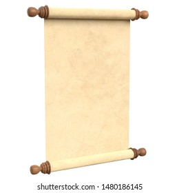 3D rendering illustration of a parchment or paper scroll