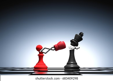 3D rendering : illustration of pawn chess knocking out a king chess. Pawn punching and destroying the king with red boxing glove on chess board. knock with secret weapon business concept.