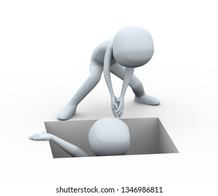 3d rendering illustration of person helping trap man by pulling him out from hole