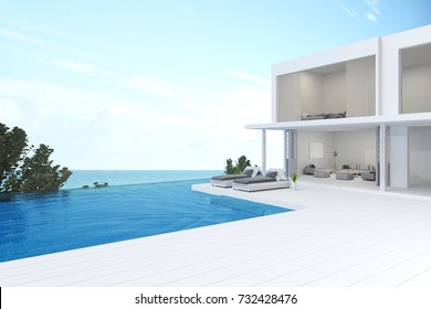 3D rendering : illustration of pool villa resort or house with sea view. sun loungers on Sunbathing deck and private swimming pool with sea view at luxury villa resort. travel in summer time concept.