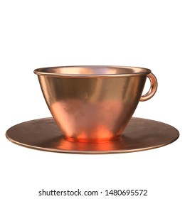 3D rendering illustration of a pure copper tea cup