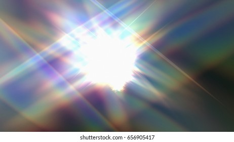 3D rendering illustration of a rainbow flare made from geometric structure design b
