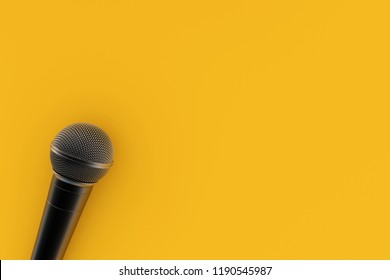 3D Rendering : illustration of realistic microphone put on flat lay background. entertainment gadget. sing or announcement. studio equipment. minimal background