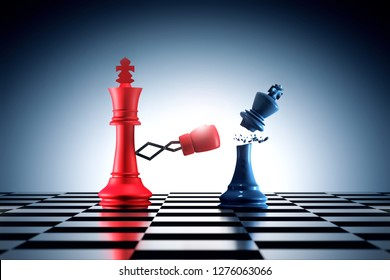 3D Rendering : illustration of red king chess punching or striking a blue king chess piece. business success in 2019 new year. time for change. knock out business enemy. business winning concept.