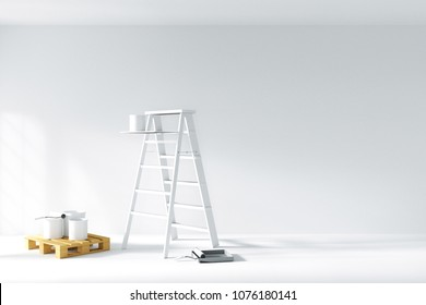 3D rendering : illustration of repair ladder for painter of wall painting. decoration your home concept. re-new your home concept. design your interior color of the wall. moving into new home
