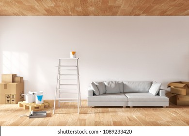 3D rendering : illustration of repair ladder for painter of wall painting. decoration your home concept. re-new your home concept. design your interior. move into new home. stack of many box packaged