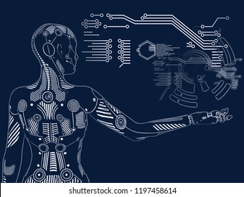 3D rendering illustration of a robot woman standing with its back agianst the camera, holding her arm out. Futuristic digital concept.