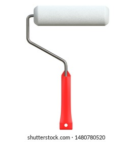 3D rendering illustration of a round roller paint brush