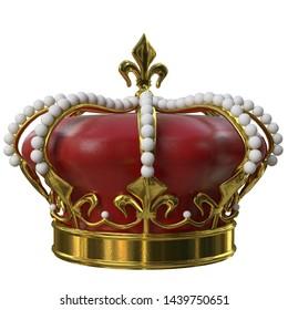 3d rendering illustration of a royal crown
