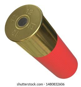 3D rendering illustration of a shotgun shell cartridge