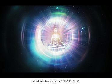 3d rendering illustration of a silhouette of meditating man against the cosmic background traveling through spacetime to another dimension