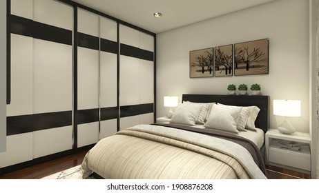 3d rendering, 3d illustration - Simple and Luxurious Master Bedroom with wardrobe clothes.