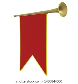 3D rendering illustration of a small medieval trumpet with banner