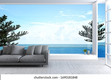 3D Rendering : illustration of soft couch sofa in wide window glass view living room interior. sea view living room. modern loft cement concrete building room. rest area of family. sofa and pillow.