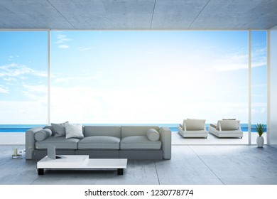 3D rendering : illustration of a soft sofa with sea view. sun loungers on private deck against swimming pool at luxury villa resort. travel in summer time concept. summer vacation travel.