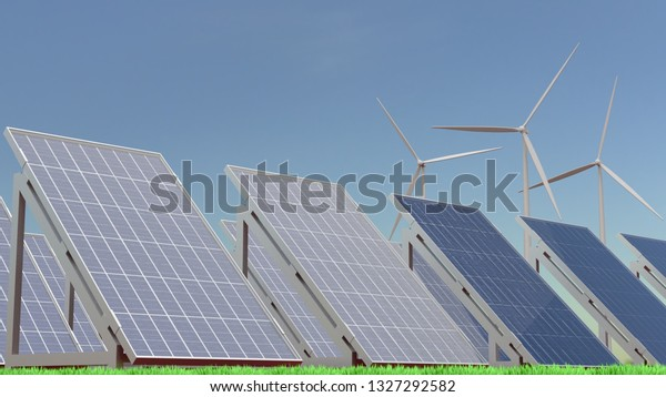 3D rendering illustration of solar panels and wind turbines on a grass field