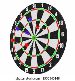 3D rendering illustration of some darts with target