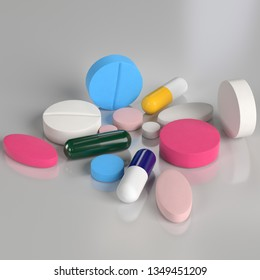 3D rendering illustration of some pills and tablets on a glossy surface