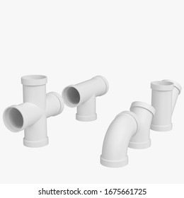 3D rendering illustration of some PVC pipe joints
