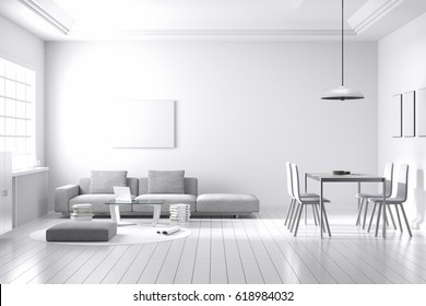 3D rendering : illustration of spacious living room part of a house in soft light color. loft brick wall with white furniture decoration living room zone. with dining table. interior design of house