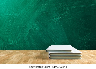 3D Rendering : illustration of stack of white book on flat lay wooden shelf with green board wall. back to school concept. education background. book and green board