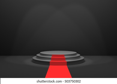 3D Rendering : illustration of stage with red carpet for awards ceremony. Black round podium.empty podium in black room and lighting drop from top.for advertising your product or present a product
