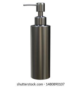 3D rendering illustration of a stainless steel pump dispenser for hand soap