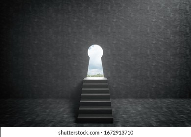 3d rendering illustration .Stair into keyhole door on dirty concrete wall background with exit way for freedom life . Future of successful, opportunity and startup concept.dark scene.nobody