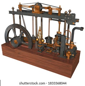 3D Rendering Illustration of a Steam Engine devised, built and perfected by Scottish inventor James Watt patented in 1769; based on the parallel motion of different metal components with wooden base.