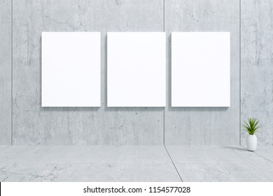 3D Rendering : illustration of three white paper poster hanging at loft wall. against cement concrete grunge texture wall. soft light color. clipping path included. background for graphic editor