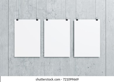 3 picture frames on wall poster 3d rendering illustration of three white paper poster hanging with clip against cement frames images stock photos vectors shutterstock