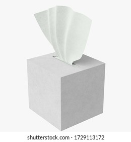 3D rendering illustration of a tissues box