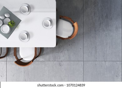 3D Rendering : illustration top view over dining table in dining room. ceramic dish decoration on wood and marble table. soft light color. sea view resort dinner. little tree decoration.