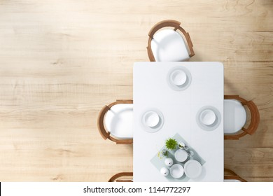3D Rendering : illustration top view over dining table in dining room. ceramic dish decoration on wood and marble table. soft light color. set of dinner room. little tree decoration.